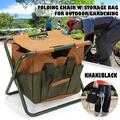 Garden Folding Stool Seat, Detachable Tote and Folding Stool Seat, Camping Hunting Fishing Multifunction Collapsible Camping Seat, 12.5*10.6*12.2inch