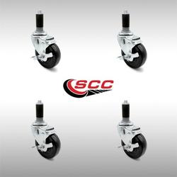 """Stainless Steel Hard Rubber Swivel Expanding Stem Caster Set of 4 w/4"""" x 1.25"""" Black Wheels and 1"""" Stems - Includes 4 with Top Lock Brakes - 1200 lbs Total Capacity - Service Caster Brand"""