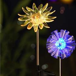 Outdoor Solar Garden Stake Lights LED Color-changing Solar Powered Decorative in-ground landscape lights for Garden Patio Lawn Pathway Backyard Decoration Multi-Color Figurine Dandelion and Sunflower
