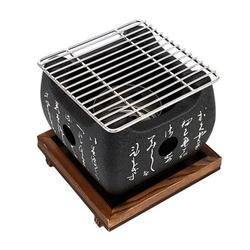 SHIYAO Cast Iron Grill,Table Top Grill Charcoal Japanese Grill at Home, Portable BBQ Grill With Wire Mesh Grill and Wooden Base, Camping Cooking Grill