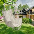 Extra Large Hanging Rope Hammock Chair Swing, Hammock Chair Swing Seat, Relax Hammock Chair with 2 Cushions, Perfect for Home, Bedroom, Patio, Yard, Deck, Garden - 350 lbs Weight Capacity, B1880