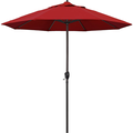 California Umbrella 9' Round Aluminum Market Umbrella, Crank Lift, Auto Tilt, Bronze Pole, Red Olefin ( Packaging may vary )