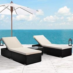 3-Piece Outdoor Patio Furniture Set Chaise Lounge, Patio Reclining Rattan Lounge Chair Chaise Couch Cushioned with Glass Coffee Table, Adjustable Back and Feet, Lounger Chair for Pool Garden, Q17029