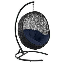 Modern Contemporary Urban Design Outdoor Patio Balcony Garden Furniture Swing Lounge Chair, Rattan Wicker, Navy Blue