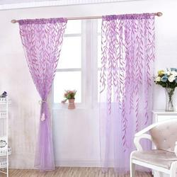 Indoor/Outdoor Balcony Window Blackout Curtains, Voile Window Room Curtain Willow Leaves Print Sheer Voile Panel Drapes Green Window Treatments, 1 Panel, 106 x 39 in