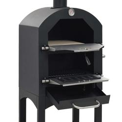 Outdoor Pizza Oven with Stone, Portable Steel Pizza Grill, Wood Fire Pizza Heater for Backyard, with Pizza Peel, Stainless, Black