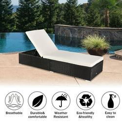 Outdoor Lounge Chairs Poolside Rattan Sun Loungers Rattan Outdoor Sunbed Chaise