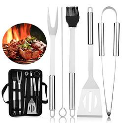 peinat BBQ Grilling Accessories Grill Tools Set - 8PCS Grill Utensils Set with Case (Barbecue Brush/Clip/Shovel/BBQ Skewers) for Camping Stainless Steel BBQ Grill Utensils Kit for Men Women Dad