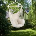 Portable Hammock Chair for Kids, Unique Hanging Rope Hammock Chair, Hanging Swing Outdoor Seat Patio Porch Garden Beach Camping with Two Soft Pillows, Durable Spreader Bar, Holds 250lb, Beige, Q9297
