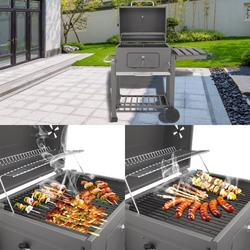 Portable Charcoal Grill, enyopro Advanced BBQ Charcoal Grill for Lawn Picnic Backyard Balcony Outdoor Cooking with Wheels, Thermometer & Side Shelf, High-Temperature Grill Oven (0-700°F), B1000
