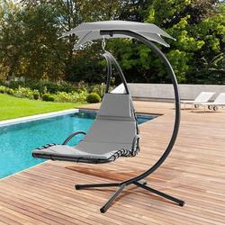 Shintenchi Patio Hammock Chair Lounge, Outdoor Hanging Floating Curved Chaise for Adults, Arc Stand Porch Swing Lounge Chair with Canopy Built-in Pillow for Yard Garden Deck Poolside, Gray