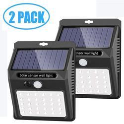 30 LED Solar Lights Outdoor, Solar Security Lights Solar Flood Lights Solar Motion Sensor Lights Wall Light Wireless IP 65 Waterproof Outdoor Lights for Garden Fence Patio Garage (2 Pack)