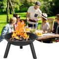 New Arrival 22'' Fire Pits Outdoor Wood Burning Steel BBQ Grill Firepit Bowl Log Grate Wood Fire Poker for Camping Picnic Bonfire Patio Backyard Garden Beaches Park