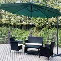 4PCS Outdoor Rattan Furniture Set, BTMWAY All-weather PE Wicker Outdoor Patio Conversation Bistro Lounge Sofa Chairs Set, Front Porch Rattan Chairs for Patio, w/Side Table Loveseat Armchairs, A3301