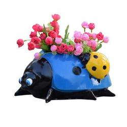 Resin Ladybugs Flower Pot Garden Decorations, Simulation Animal Ladybugs Flower Pot,Outdoor and Garden Decor Patio Yard Planter Flower Pot Indoor or Outdoor Decorations (Blue)