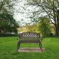 Outdoor Patio Garden Bench All-Weather Cast Aluminum Park Yard Furniture Porch Chair Work Entryway Decor w/Checkered Design