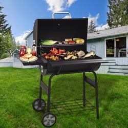 BBQ Charcoal Grills, 30'' Portable BBQ Charcoal Grill with Smoker, BBQ Grill with Temperature Gauge and Metal Grates, Outdoor Charcoal BBQ Grill with 2 wheels for Patio, Porch, Picnic, SS1047