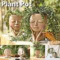 2021 EDD Simple Face Flower Pot Head Planter Pot Succulent Planter Cute Resin Cactus Planter with Drainage Hole Closed Eyes Style A