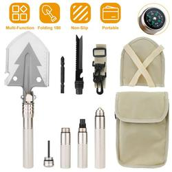 iMounTEK Military Folding Shovel Multifunctional Survival Emergency Spade Tactical Multi Tool For Outdoor Camping Hiking Backpacking with Compass