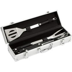 Stainless steel grill cutlery set 3 pieces in a case, grill cutlery, BBQ multi grill cutlery, grill accessory, non-slip handles, stable and solid quality, 11.7 x 8.5 x 38.8 cm