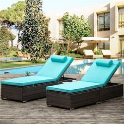 Chaise Lounges for Beach, 2Pcs Patio Furniture Set with Head Pillow, Outdoor Chaise Lounge Chairs with Adjustable Back, All-Weather Rattan Reclining Lounge Chair for Backyard, Porch, Garden, Pool
