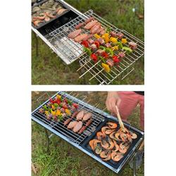 Charcoal Grills Portable BBQ - Stainless Steel Folding BBQ Camping Grill Large Portable Camping Cooking for Travel Grill Outdoor