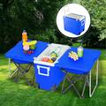 Rolling Cooler, 2021 Upgraded Wheeled Cooler with Foldable Picnic Table and 2 Portable Fishing Chair, 30-Quart Cooler for Camping, BBQs, Tailgating & Outdoor Activities, Blue, I7433