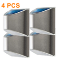 Security Solar Wall Lights - Outdoor Solar Fence Post and Step Lights, Weatherproof with No Wiring Required, Stainless Steel (4-Pack) 4PCS