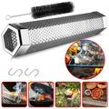 Barbecue Smoker Tube, Portable 12'' Hexagon Perforated BBQ Smoke Generator Stainless Steel to Add Smoke Flavor to Grilled Foods