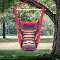 Hanging Rope Hammock Chair Swing Seat for Any Indoor or Outdoor Spaces, Portable Garden Hammock Chair for Kids, Unique Hammock Hanging Chair with Two Pillows, Durable Spreader Bar, Rainbow, Q9321