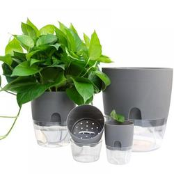 2 Layer Self Watering Planter, Clear Plastic Automatic-Watering Planter Self Watering Pots for Indoor Plants Flower Pot for All House Plants, Succulents