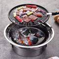 Multifunctional Charcoal Barbecue Grill, Household Korean BBQ Grill, Portable Camping Outdoor Grill Stove, Table Smoker Grill, Stovetop Nonstick Indoor/Outdoor Smokeless BBQ Cast