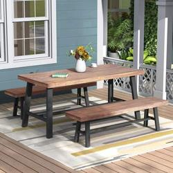 Vingtank Picnic Table Set Natural Wood 3 Piece Dining Table Bench Outdoor Perfect Patio Rattan Furniture Waterproof Smooth Surface Home Modern Garden