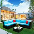 Rattan Wicker Outdoor Sectional Sofa Set, 5 Piece Outdoor Patio Furniture Set with 2 Pillow, Blue Cushions and Coffee Table, Patio Conversation Sets for Backyard Lawn Bistro Poolside Garden, W15962
