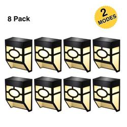 Solar Deck Lights, 2 Modes Night Lights Wall Mount Fence Post Lights LED Wall Light for Garden, Landscape, Decoration, Pathway, Patio, Fence, Deck, Yard, Warm/Color Changing, 8 Pack