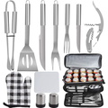 POLIGO 12PCS Camping Barbecue Tools Stainless Steel BBQ Grill Accessories Set with Black Cooler Bag - Premium Grill Utensils Set for Fathers Day Birthday Presents Ideal Grilling Gifts for