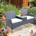 Outdoor Small Conversation Furniture Set, Syngar Wicker Patio Loveseat with Glass Table, Patio Furniture Chairs with Cushions and Table, PE Rattan Sofa Set Perfect for Deck Porch Poolside Décor, B070
