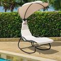 Gymax Patio Lounge Chair Chaise Garden Yard w/ Steel Frame Cushion Canopy Beige