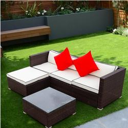 3Piece Outdoor Sectional Furniture Set, BTMWAY Rattan-Style Sectional Patio Conversation Furniture Couch Set for Outdoor, Patio Sofa Bistro Chairs Set for Outdoor Porch Gazebo Lawn, A3325