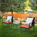 Patio Garden Balcony and Backyard3-Piece Conversation Black Wicker Furniture-Two Chairs with Glass Coffee Table Red
