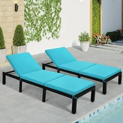 TNBIU 2-Piece Rattan Daybed Outdoor Patio Recliner Chaise Adjustable Rattan Wicker Lounge Chair Sunbed for Garden Beach Blue
