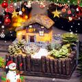 S-morebuy Garden Fairy Small House Succulent Green Plant Planter Herb Flower Basket Bonsai Resin Pot,Lighting Tuscany's Cabin Flower Pot Craft Magic Lantern Planter Chrismas Gift