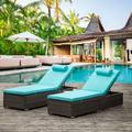2 Piece Patio Brown Rattan Reclining Chair, Outdoor Adjustable Backrest Recliners Beach Pool PE Wicker Chaise Lounge with Side Table and Comfort Head Pillow - Blue Cushion