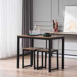 Dining Room Table Sets, YOFE 3 Pcs Kitchen Table Set, Dining Table Set with 2 Stools, Small Dining Table Sets for 2, Kitchen Table Set with Chair for Dining Room Kitchen Small Spaces, Fire Wood, R3561