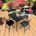 Outdoor Patio Dining Set, 5 Piece Outdoor Patio Furniture with Dining Table, Picnic Wedding Party Patio Conversation Set, Black Metal Folding Table and Chairs Set for Garden lawn Pool Backyard, W16753