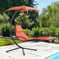 Jamfly Outdoor Patio Porch Hanging Lounge Chairs Floating Swing Hammock Chairs with w/Built-in Pillow and Removable Adjustable Canopy for Lawn Backyard Poolside Garden and Indoor (Orange)