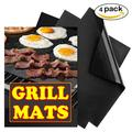 Chainplus Grill Mat Set of 4-100% Non-Stick BBQ Grill Mats, Heavy Duty, Reusable, and Easy to Clean - Works on Electric Grill Gas Charcoal BBQ - 15.75 x 13-Inch, Black