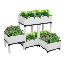 Set of 6 Raised Planter Box, Free Splicing Raised Bed Planter Kit, Vegetable/Flower/Herb Elevated Garden Bed with Self-watering Disk and Drain Holes, Perfect for Garden, Patio, Balcony, JA2489