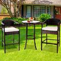 Patio Bistro Set, 3 Piece Outdoor Bar Table and Stools Set, 2 Patio Cushioned Bar Chairs with 1 High Glass Top Table, All Weather PE Rattan Furniture Set for Garden Yard Balcony Poolside Cafe, B16