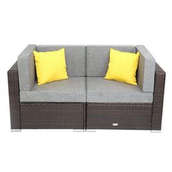 Promotion Clearance Outdoor Patio Garden 2-pc Wicker Rattan Sectional Sofa Lounge Set Corner Sofa,Durable Steel Frame Waterproof Cushion Makes Your Garden Delicate (Brown)